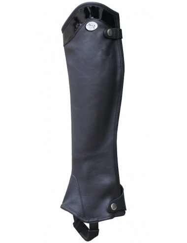 Leather and patent leather half-chaps