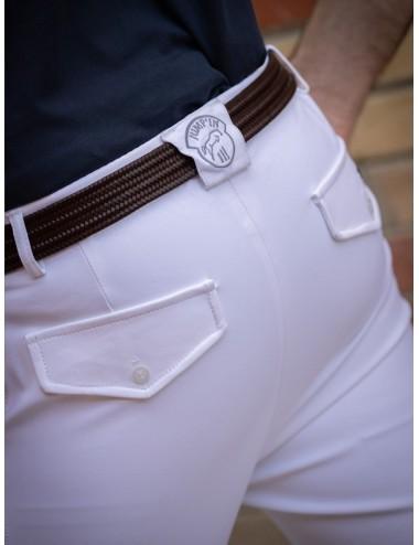 Pantalon d'équitation homme à pinces Tom - Super X - Blanc