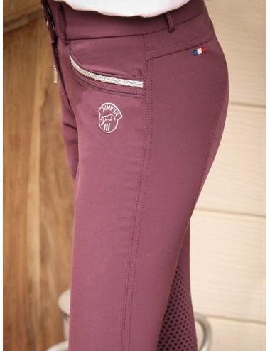 Pantalon d'équitation Junior fille Marie - Prune